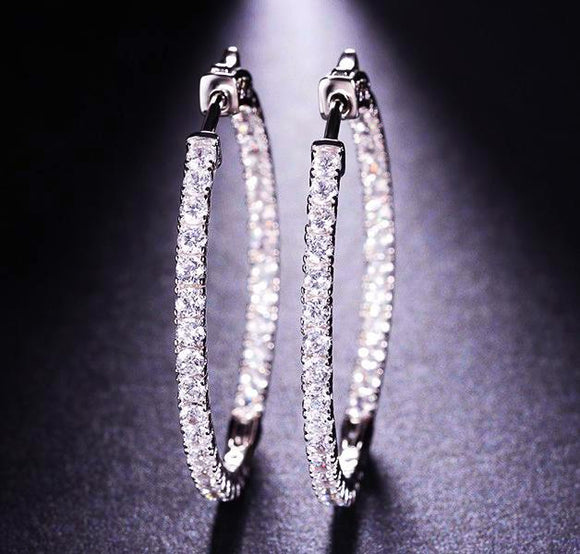Hoop earrings paved with AAA austrian cubic zirconia