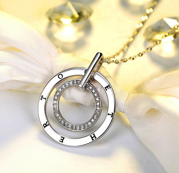 Double circles pendant with long chain with austrian cubic zirconia