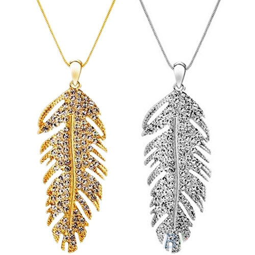 Bohemian alloy rhinestone feather necklace