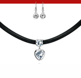 Brightly zirconia heart pendant choker