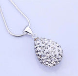 Shiny silver water drop necklace