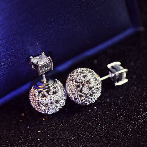 Double sided design vintage hollow stud earrings with cubic zirconia
