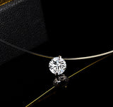 Infinite U Solitaire Pendant 925 Sterling Silver Cubic Zirconia CZ with Transparent Chain Necklace