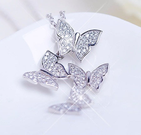 ZHX Real 925 Sterling Silver Long Zircon Butterfly Necklaces Pendant Fashion Sterling Silver Jewelry Statement Chain Necklace