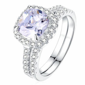 Solid sterling silver wedding engagement ring set 925