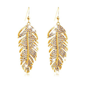 Feather rhinestone earrings