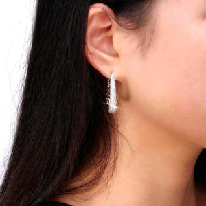 Amazing hoop earrings paved with AAA austrian cubic zirconia