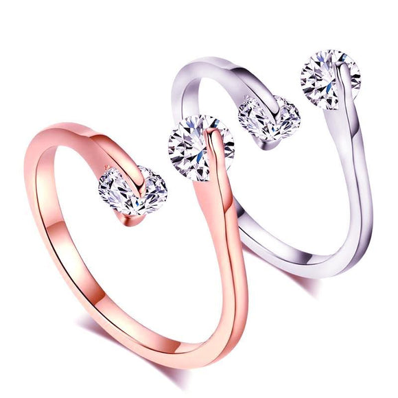 Engagement rose gold ring with austrian cubic zirconia crystals