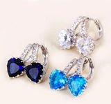 Earrings with colorful hearts crystals cubic zirconia 925