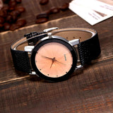 Casual trendy watches with rhinestones and leather strap Two colors