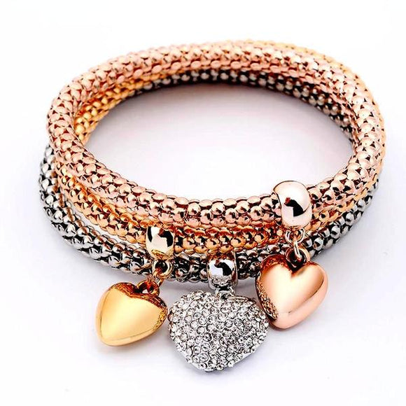 Crystal heart  bracelets set