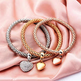 Exquisite 3 Pcs/Set Crystal Heart Charm Bracelets&Bangles 3 Color Rose Gold Color Elephant Anchor Pendants R