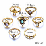 Bohemian vintage silver stack rings set 7pcs