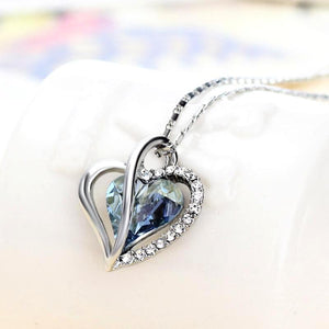 Heart Necklace Austria Crystal & Rhinestone