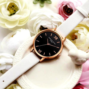 Casual watches with black dial and different colors leather straps