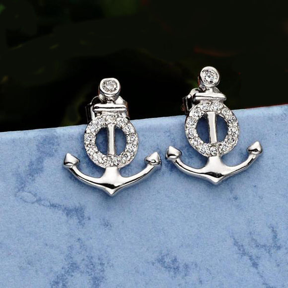 Silver anchor earrings with cubic zircon 925