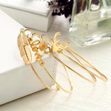 Gold color leaf snowflake love deer antlers open bangles 4 pcs/Set