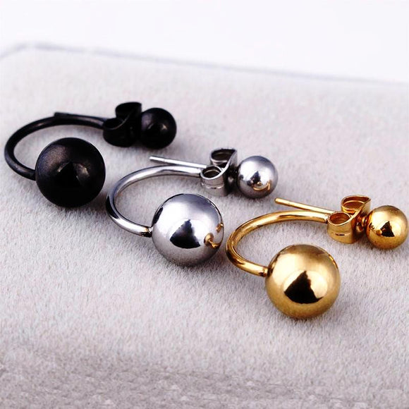 Double round ball stud earrings