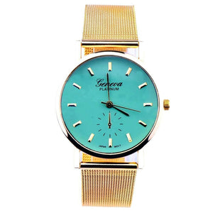 Trendy green watches with gold band strap