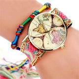 World map watches with braided strap