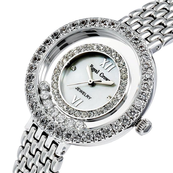 Luxury jewelry watches paved rhinestones with dial of pearl and stainless steel bracelet Japanese quality