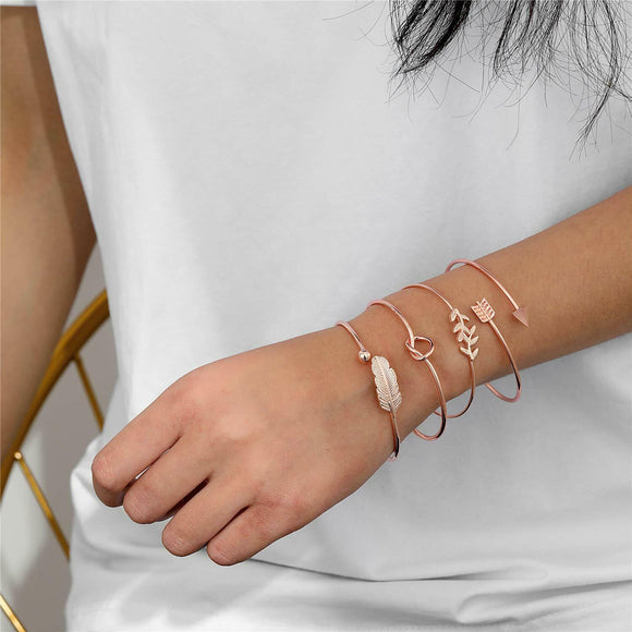 Starain 4Pcs Rose Gold Bangle for Women Girls Simple Olive Leaf|Arrow|Feather|Knot Heart Adjustable Cuff Bracelet Set