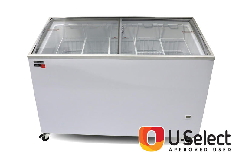 Interlevin Sliding Curved Glass Lid Chest Freezer IC400SCEB