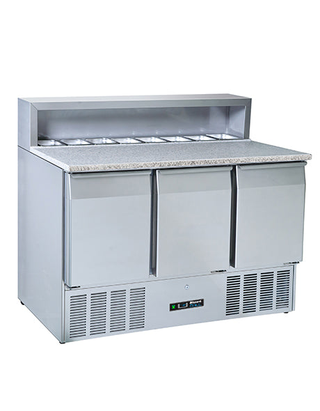 Blizzard Three Door Compact Pizza Prep Counter : BCC3PREPGRANITE-ECO