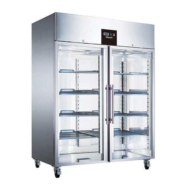 Blizzard Glass Two Door Ventilated Gastronorm Fridge 1300L BR2SSCR