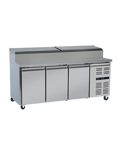 Blizzard Three Door Refrigerated Prep Counter with Raised Collar : HBC3EN