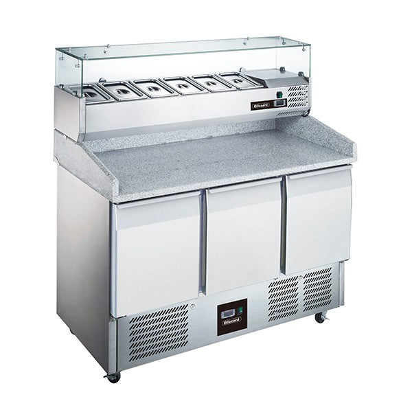 Blizzard 3 Door Compact Gastronorm Pizza Prep Counter 368l BCC3PIZZA