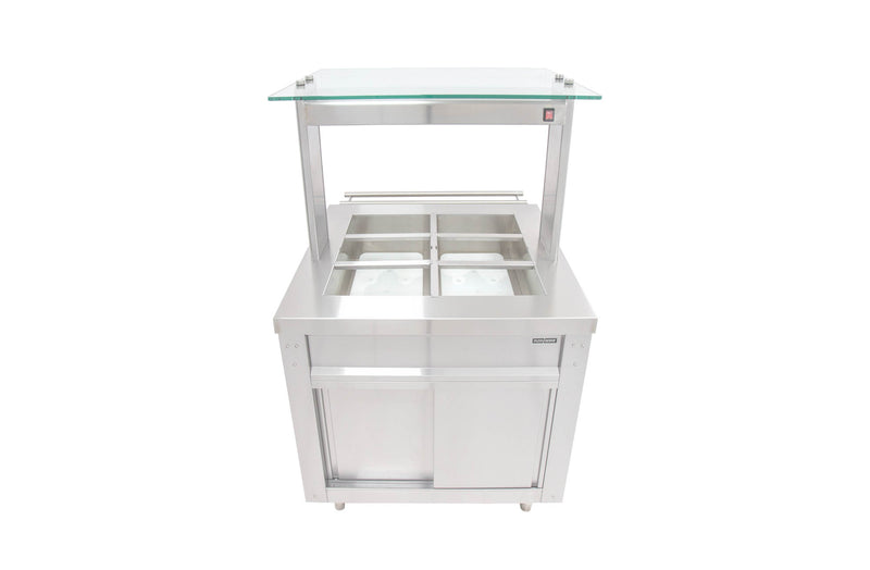 FLEXI-SERVE Ambient Cupboard with Chilled Well and Glass LED Gantry with Sneeze Screen FS-AW2 / FS-LG2