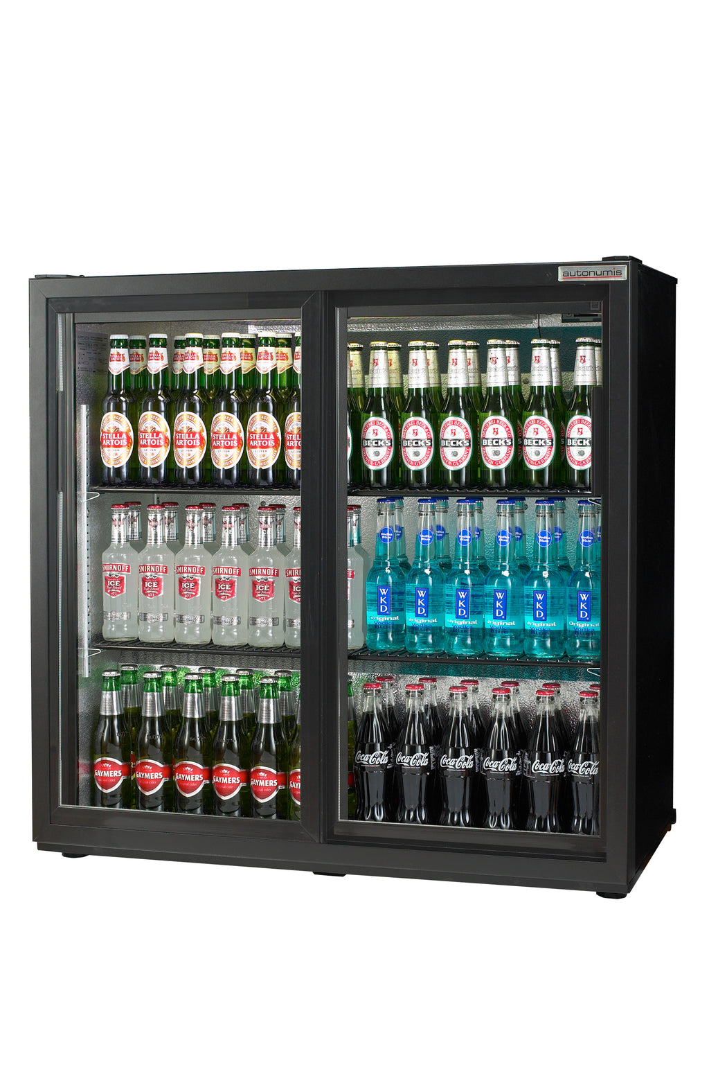 Autonumis Two Sliding Door Maxi Bottle Cooler Fridge Black : RHC10001
