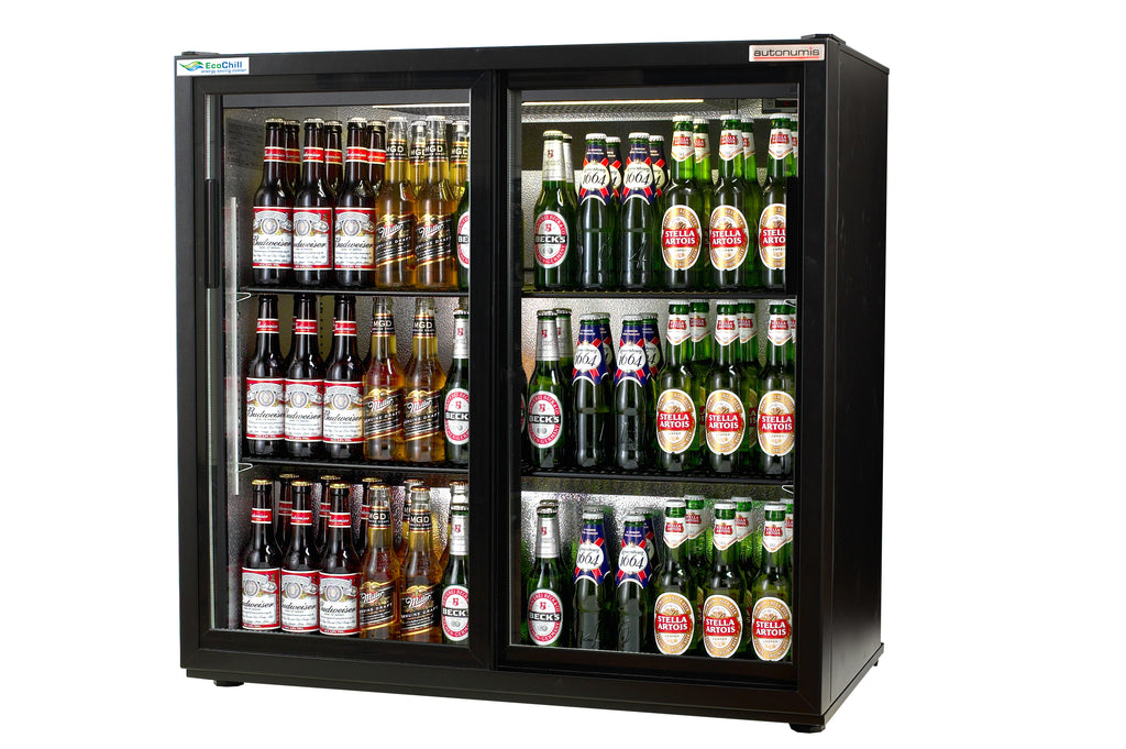 Autonumis Ecochill Two Sliding Door Bottle Cooler Black : RJC10001