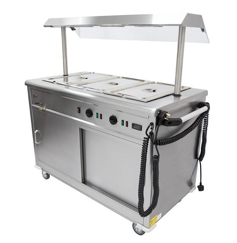 Parry Mobile Bain Marie Servery (with Heated Gantry and sneeze screen) : MSB12G