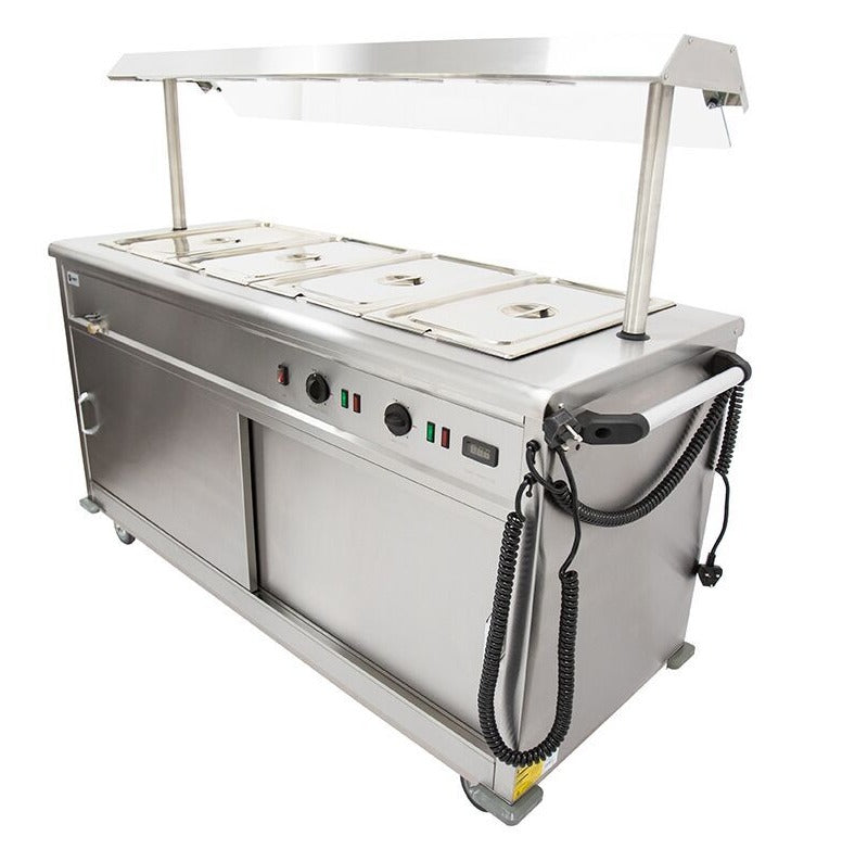 Parry Mobile Bain Marie Servery (with Heated Gantry and Sneeze Screen) : MSB15G