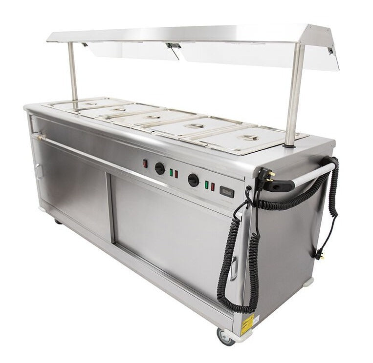 Parry Mobile Bain Marie Servery with heated Gantry and Sneeze Screen : MSB18G