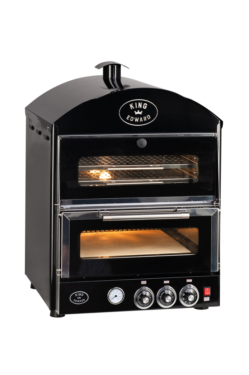 King Edward Pizza King Oven with Warmer PK1W - Black