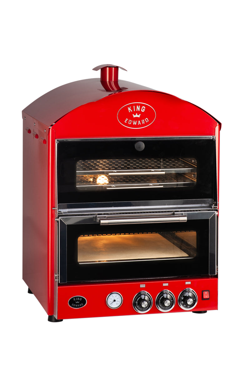 King Edward Pizza King Oven with Warmer PK1W - Red