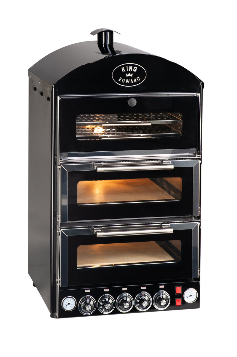 King Edward Pizza King Double Oven with Warmer PK2W - Black