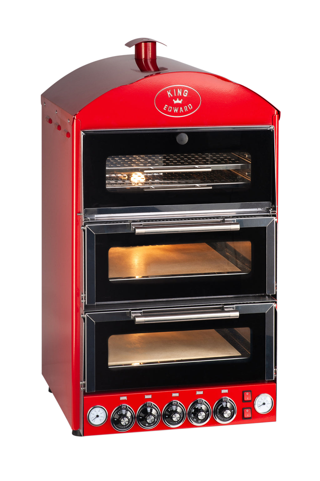 King Edward Pizza King Double Oven with Warmer PK2W - Red