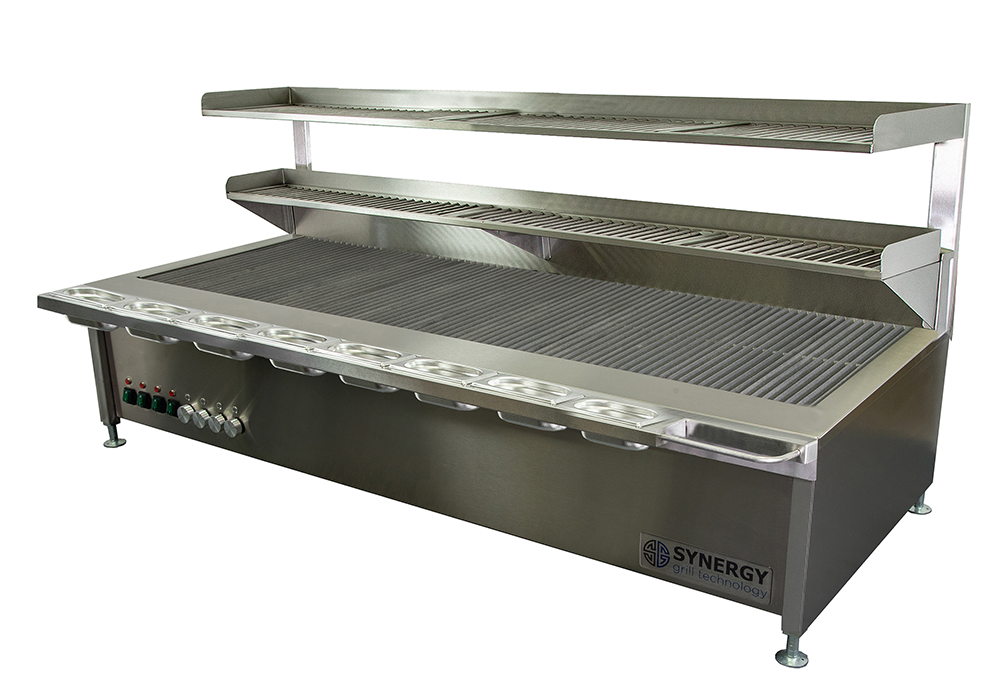 Synergy Trilogy Four Burner Grill with Garnish Rail and Slow Cook Shelf: ST1700