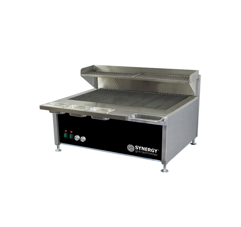 Synergy Trilogy Two Burner Grill with Garnish Rail and Slow Cook Shelf in Black : ST900BLK