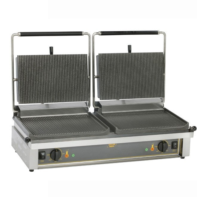 Roller Grill Twin Contact Grill, Ribbed base & Ribbed top : D'PANINI R