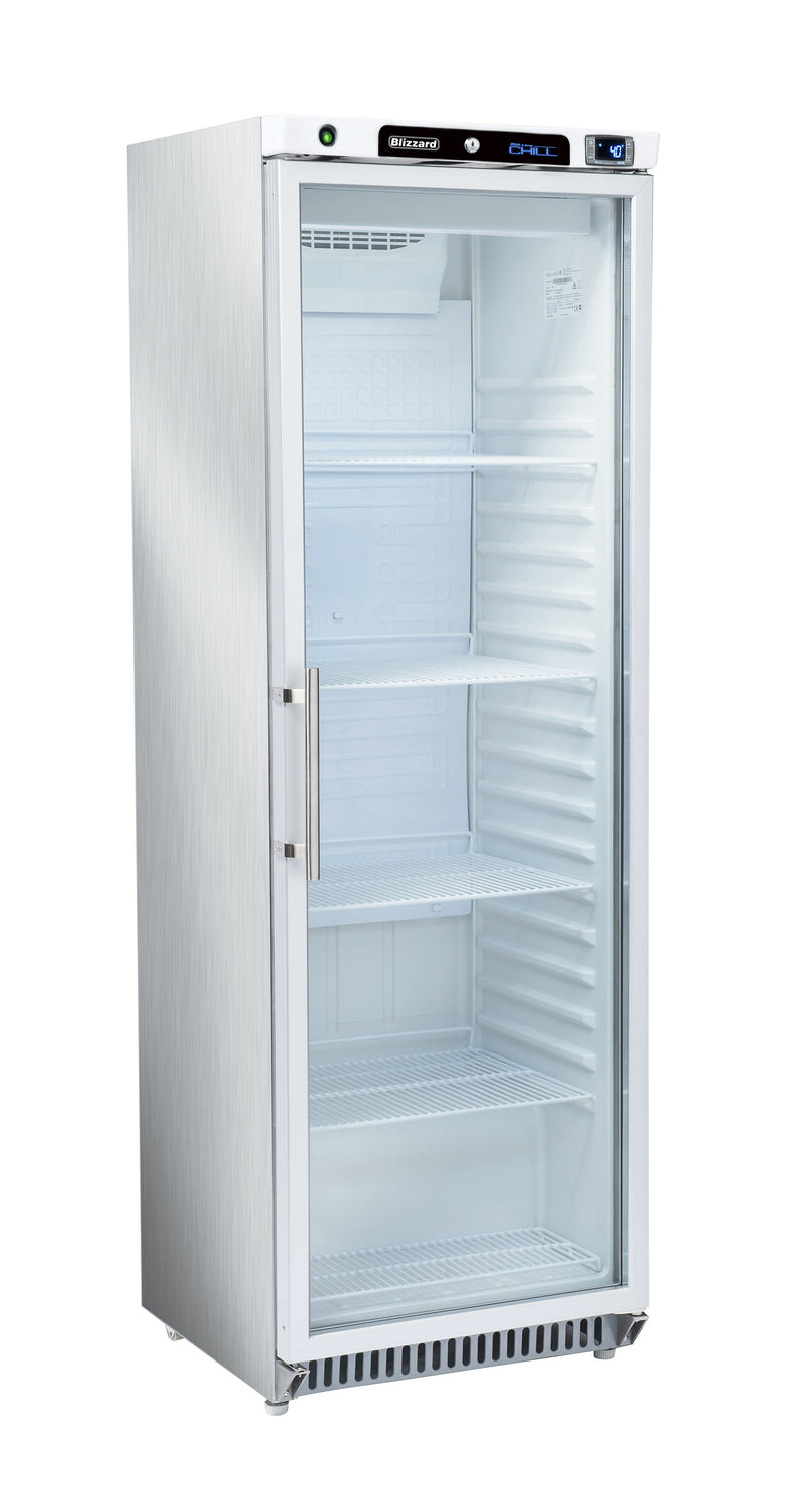 Blizzard Glass One Door Upright Refrigerator: HG400WH