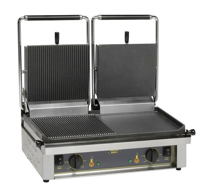 Roller Grill  Twin Contact Grill Half Ribbed Top & Base Half Flat Top & Base : MAJESTIC M