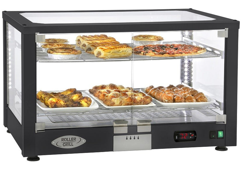 Roller Grill Counter Top Illuminated Heated Display Cabinet in Black WD780S