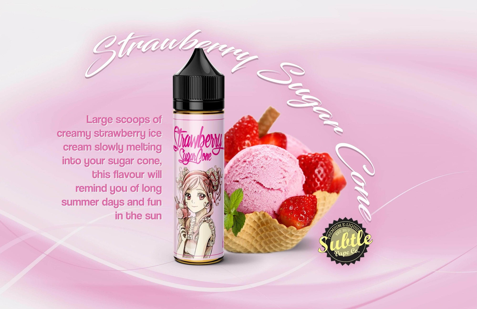 Subtlevape Strawberry Sugar Cone 60ml - Downtown Vapoury