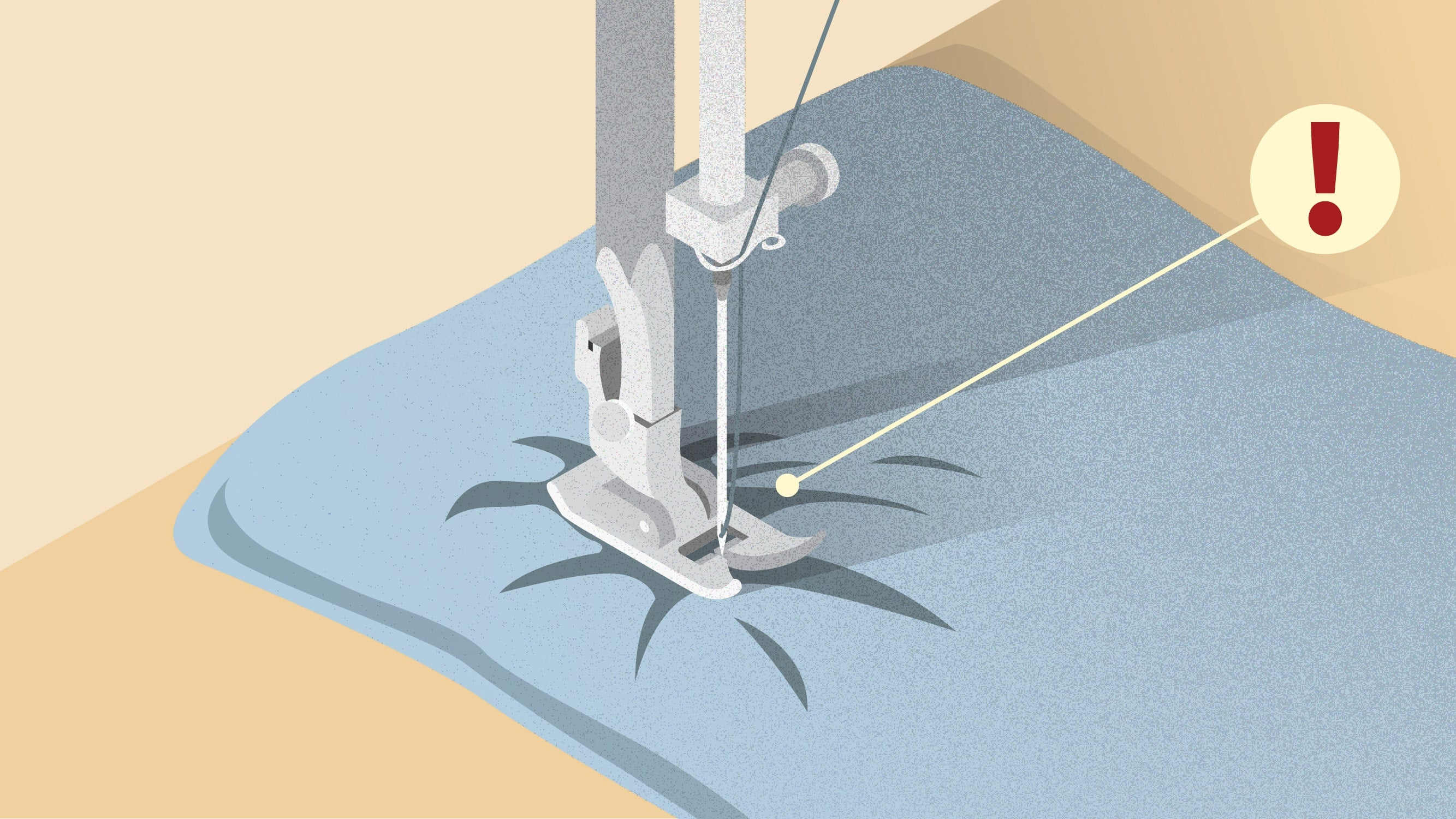 Illustration of sewing machine not being able to sew the fabric | Sewing tutorial © Singer® Hong Kong