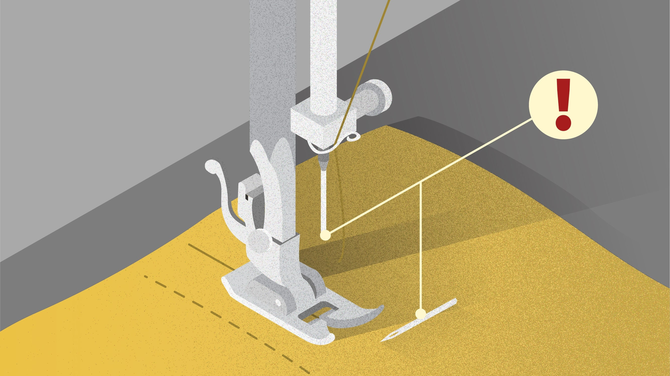 Illustration of sewing machine needle breaks when sewing | Sewing tutorial © Singer® Hong Kong